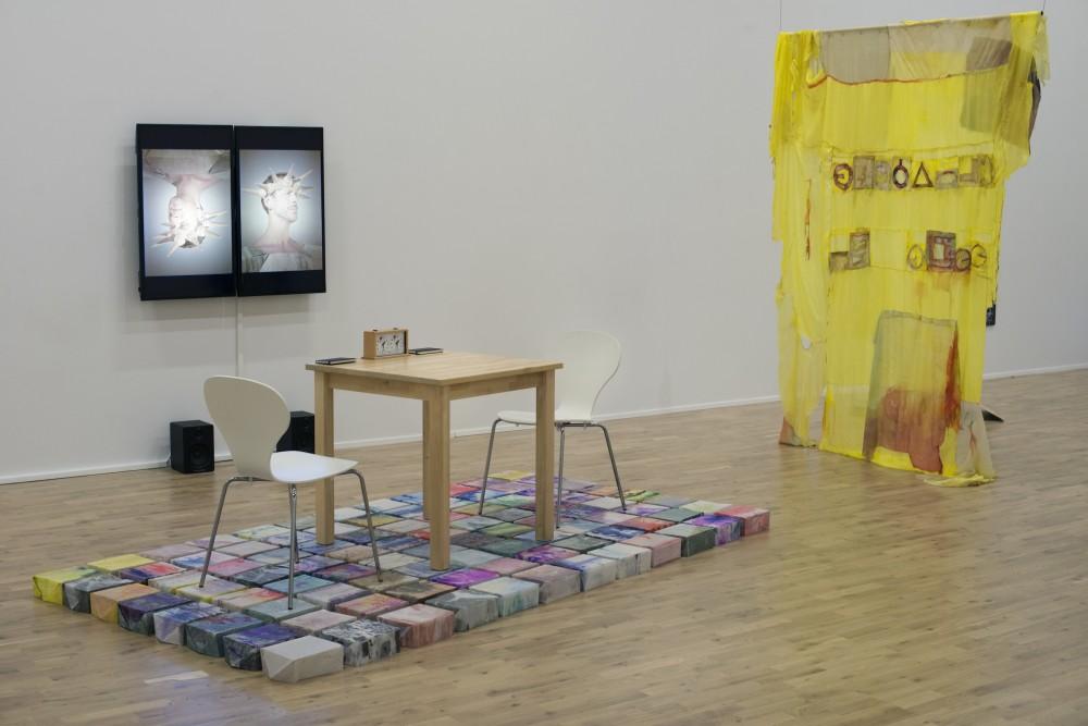 Installation view from Handlingens Gang: Kjetil Berge, Jason Havneraas, Johanna Ellen and Kristian Skylstad, Performance vs. Poetry, 2015. Margrethe K Brekke, VTTFK (Vestnorsk tekstilkunst tiltak for krisehåndtering), 2015 .