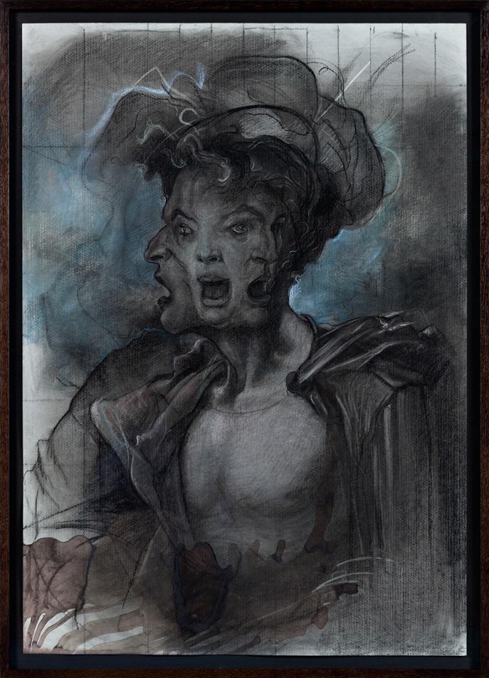 """Ole Jørgen Ness, """"Cerberus"""", 2013, kull og kritt på papir, 100 x 70 cm"""