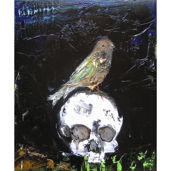 Raynald Driez: Crâne et piaf, 2015, Oil on canvas, 46 x 38 cm