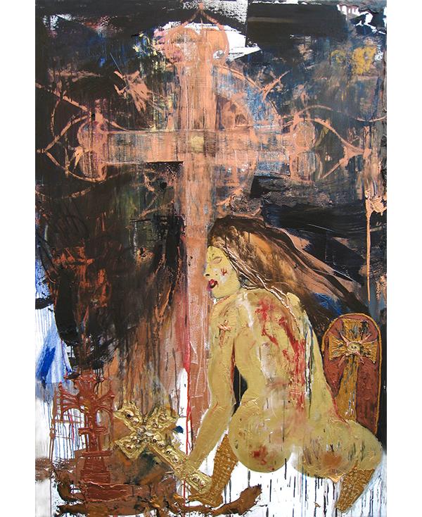 Raynald Driez: Croix numéro 6, 2015, Oil on canvas, 210 x 140 cm