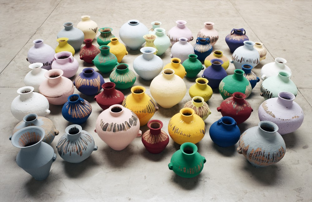 Ai Weiwei, Coloured Vases, 2006. Neolithic vases (5000-3000 BC) with industrial paint, dimensions variable. Courtesy of Ai Weiwei Studio Image courtesy Ai Weiwei © Ai Weiwei