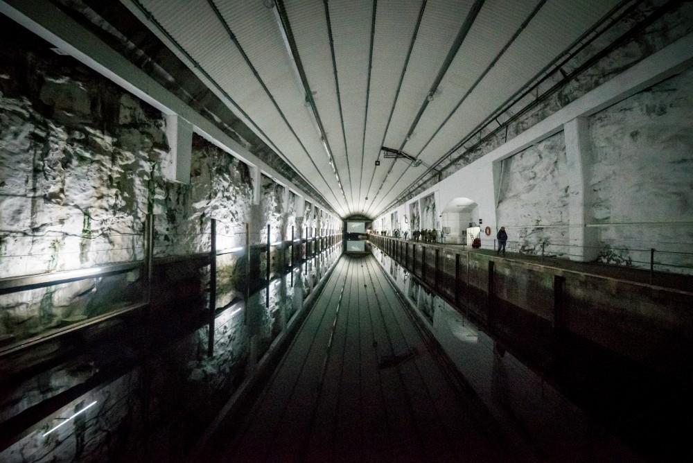 Installation view: Alexander Lysov's light installation and Emilija Skarnulytes video No Place Rising. Photo: David González
