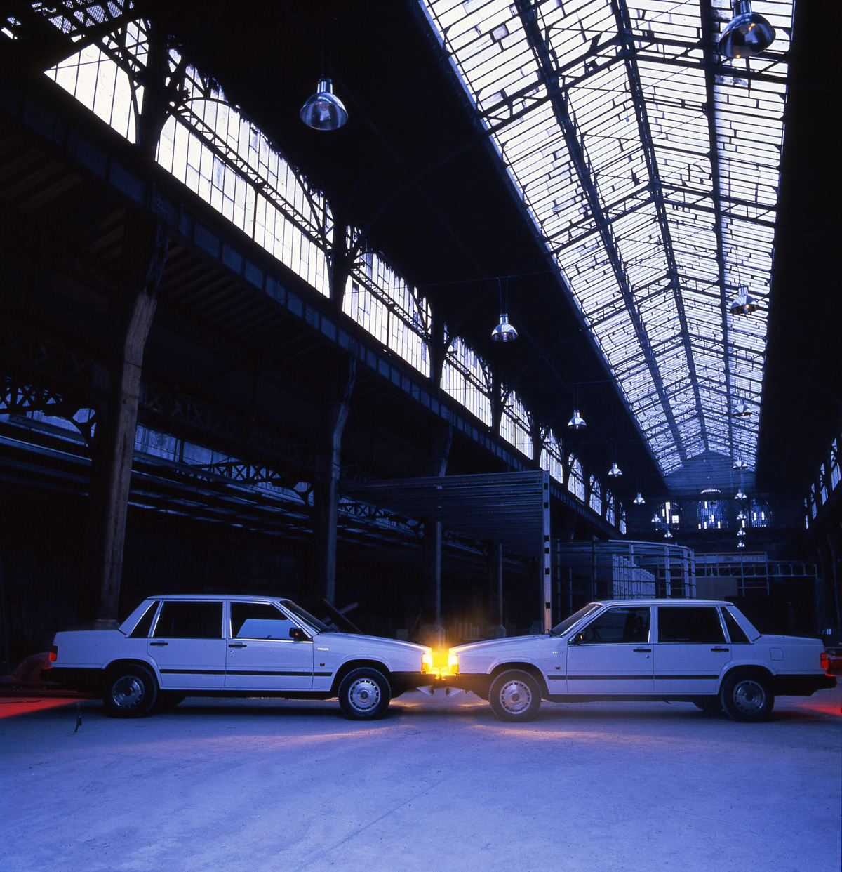 Ange Leccia, Volvo, arrangement, 1986. Installation view in Le Magasin, Grenoble, France Almine Rech Gallery, Paris, Bruxelles © Ange Leccia ADAGP