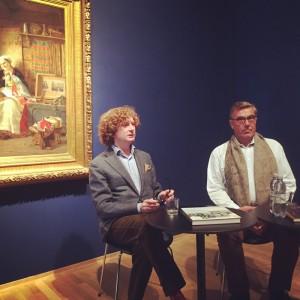 Knut Ljøgodt, direktør ved NNKM og Stein Erik Hagen i 'Collectors Talk' den 18. oktober i anledning «Fra Dahl til Munch: Nordisk maleri fra Canica Kunstsamling».
