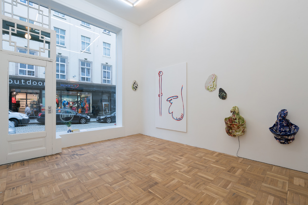 "Current exhibition, installation view from Bjørn Mortensen ""Pouches and Pockets / Compositories in Color. Photo Bent René Synnevåg Courtsey Entrée"