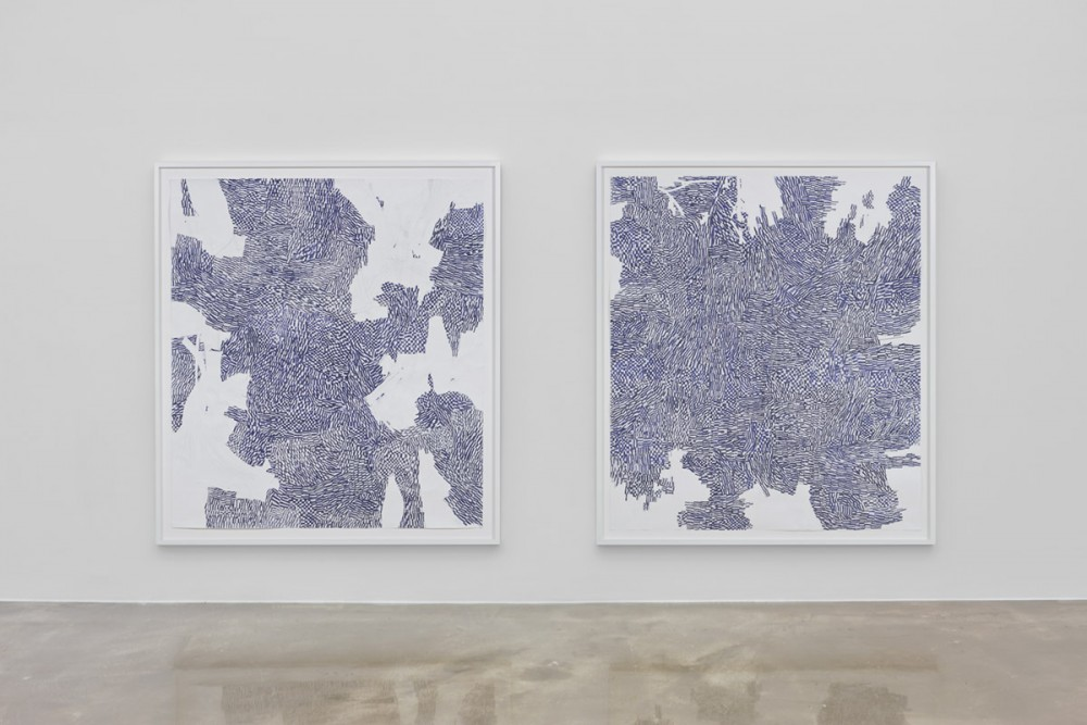 Mette Stausland, STYX LICKS, 2014, kritt på papir/collage, og READING RIVERS II, 2013, kritt på papir/collage.