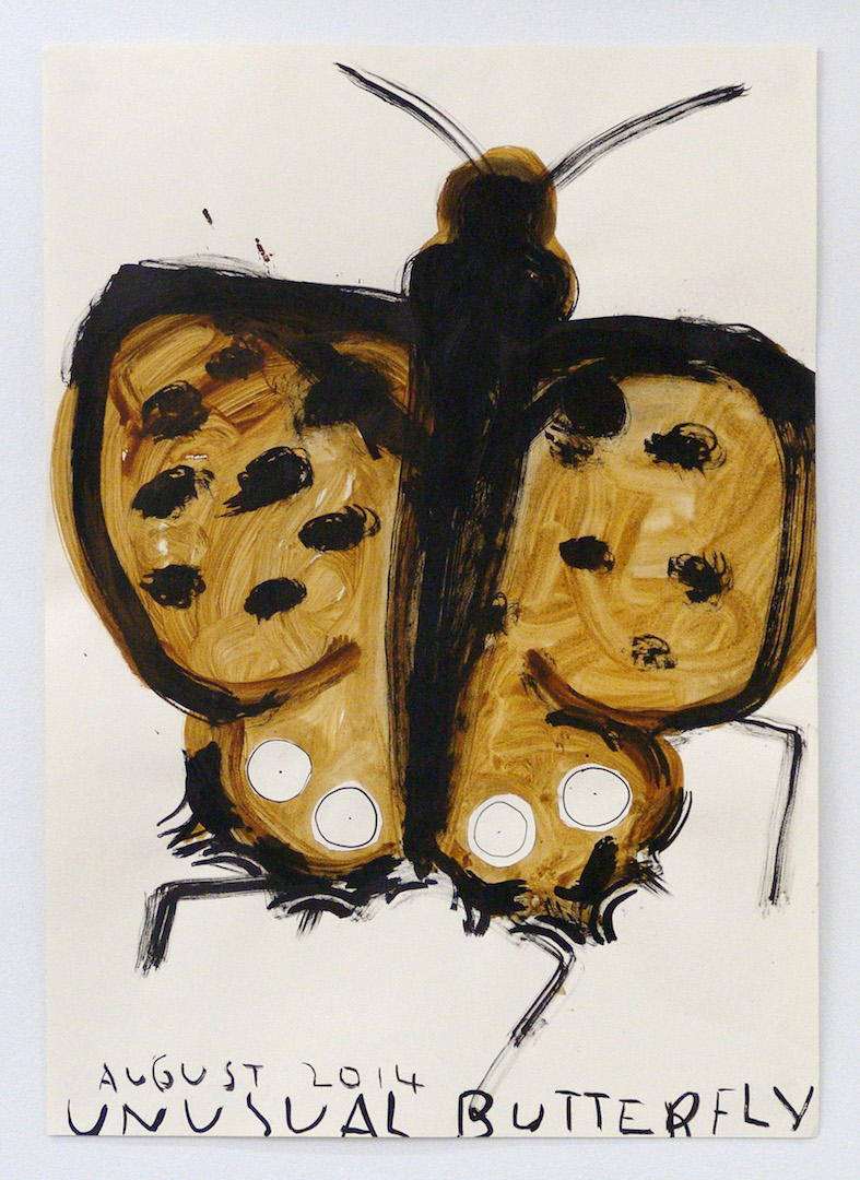 Thomas Erben Gallery (New York, USA) with Rose Wylie, Garden Butterfly, 2014. ©the artist and Thomas Erben Gallery
