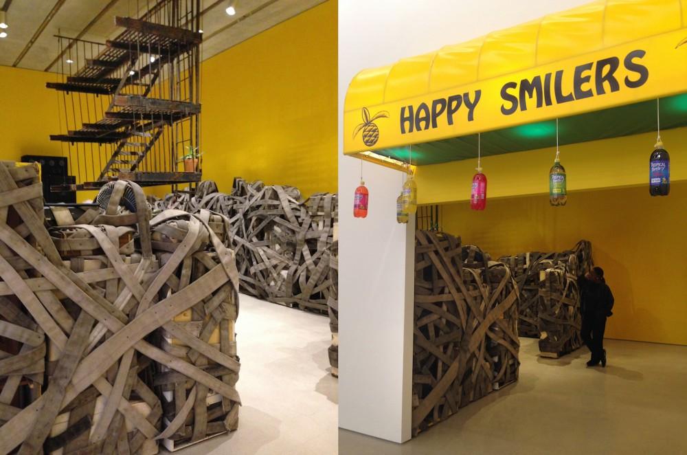 Perez Art Museum Miami with Nari Ward's Retrospective Sun Splashed. Happy Smilers: Duty Free Shopping, 1996. Installation views at the PAMM. ©Vanessa Albury