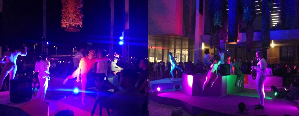 Perez Art Museum Miami (PAMM) with Devonté Hynes (Blood Orange) and Ryan McNamara's Dimensions. Performance on the PAMM terrace on December 3, 2015 with 8 dancers and 8 musicians on moving stages. ©Vanessa Albury