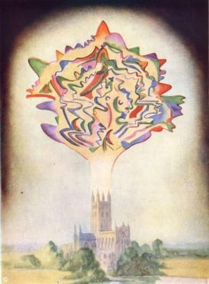 Annie Beasant og Charles Leadbeater, A thought-form, illustrasjon fra boka Thought-Forms (1901).