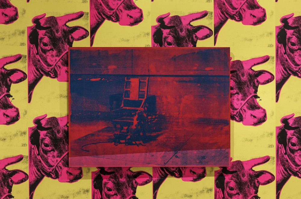 Andy Warhol, Electric Chair, installasjonsfoto Warhol Unlimited, Musée d'Art moderne de la Ville de Paris, 2015