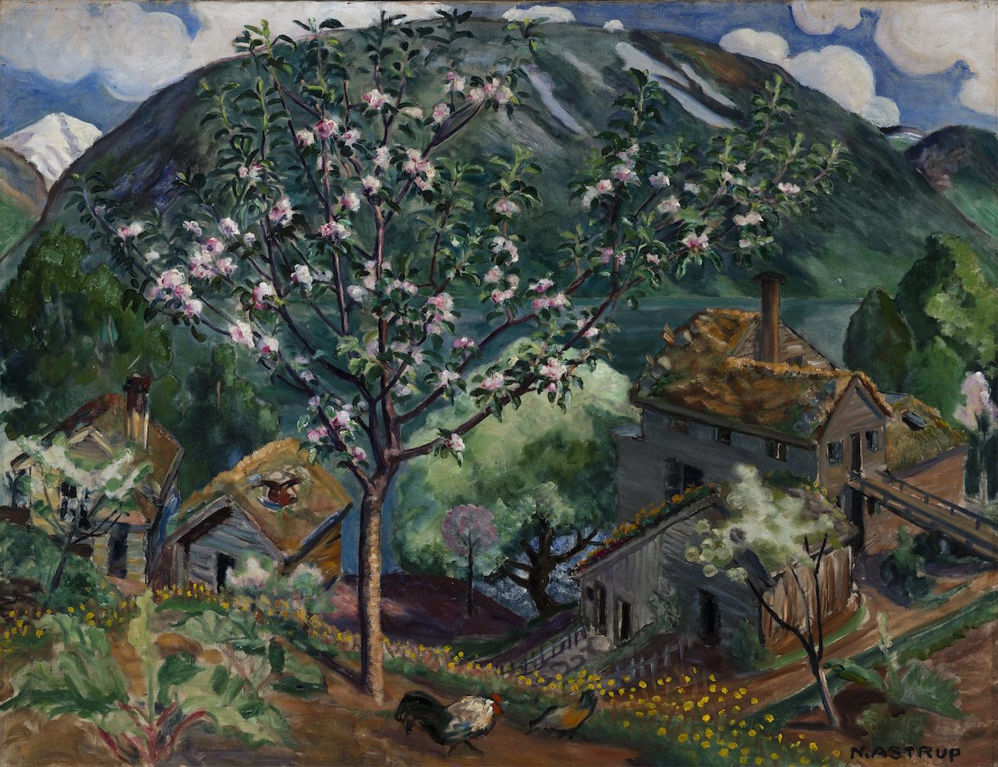 Nikolai Astrup, Epletre i blomst, ca. 1927. Sparebankstiftelsen – DNB