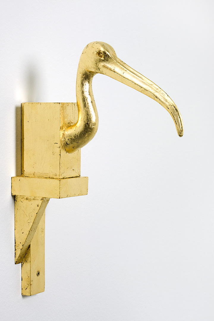 Michael Müller, Thot, 2013, plaster, wood and gold 41 x 7.8 x 28.5 cm