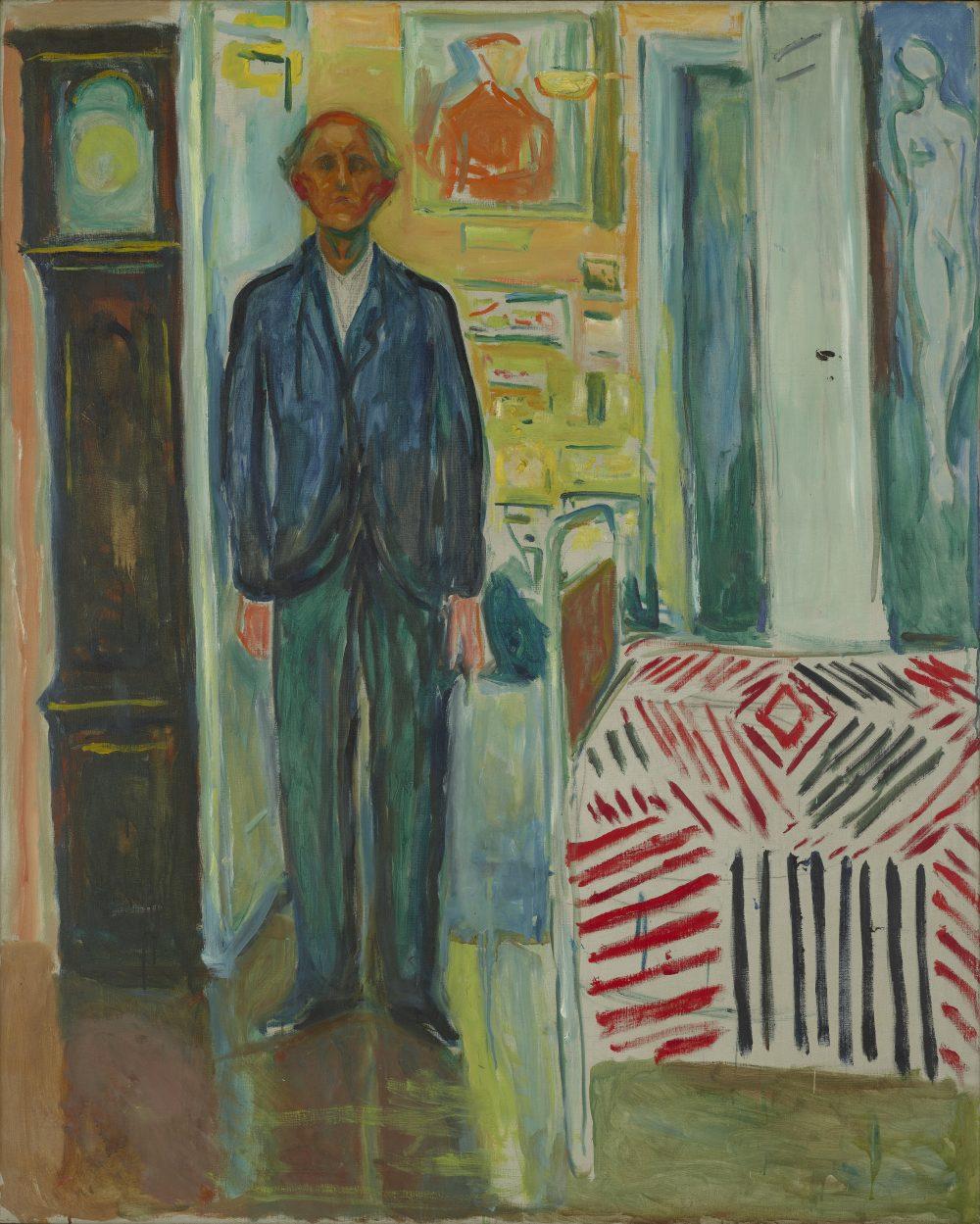 Det hersker liten tvil om at Jasper Johns brukte Edvard Munchs sene maleri Selvportrett mellom klokken og sengen som utgangspunkt for flere malerier. Det er ganske opplagt, siden Johns kalte sine malerier Between the Clock and the Bed.