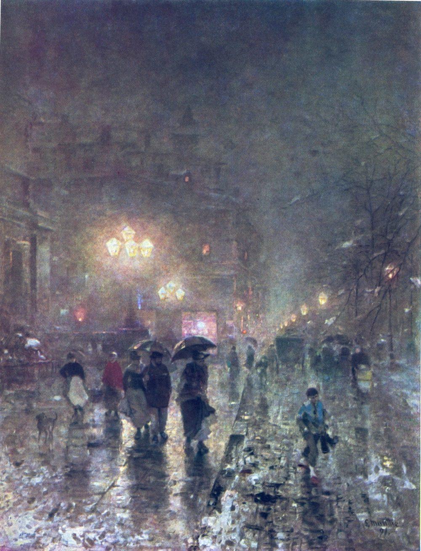 """Ludvig Munhe, """"Düsseldorf Stadttheater und Alleestraße"""" (1891)"""
