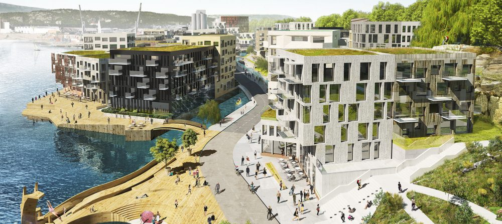 Skisse av hvordan Kanalbyen i Kristiansand er tenkt. Kunstsiloen sees i bakgrunnen